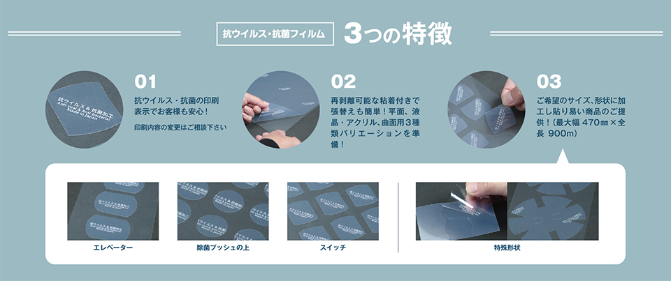 抗ウイルス・抗菌フィルムの3つの特徴!抗ウイルス・抗菌の印刷表示でお客様も安心!再剥離可能な粘着付きで張替えも簡単!平面、液晶・アクリル、曲面用の3種類バリエーションを準備!ご希望のサイズ、形状に加工し貼り易い商品のご提供!